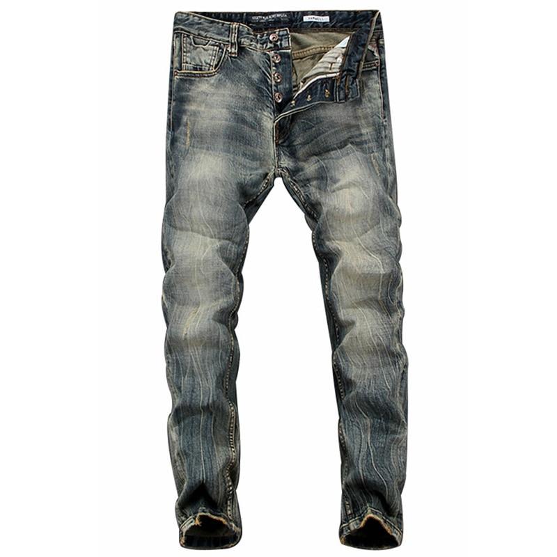 European American Retro Men`s Pensil Jeans High Grade Process Vintage Wash Dark Color Skinny Jeans Men Casual Slim Pants 617Îäåæäà è àêñåññóàðû<br><br>