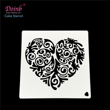 Love Heart Totem Plastic Spray Flower Cake Mold Strew Pad Stencil Duster Cupcake Fondant Decoration Baking Tool Moulds FQ4040(China)