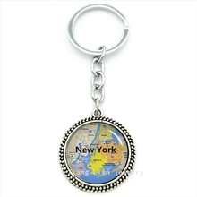 The special place in USA design key chain New York map art pendant key holder charming bright color jewelry llavero gift T467