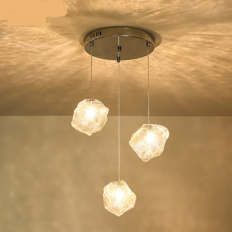 Glass lamp body pendant lamps Lighting restaurant retro dining room cafe bar stairs Glass 1/3heads pendant lights<br>