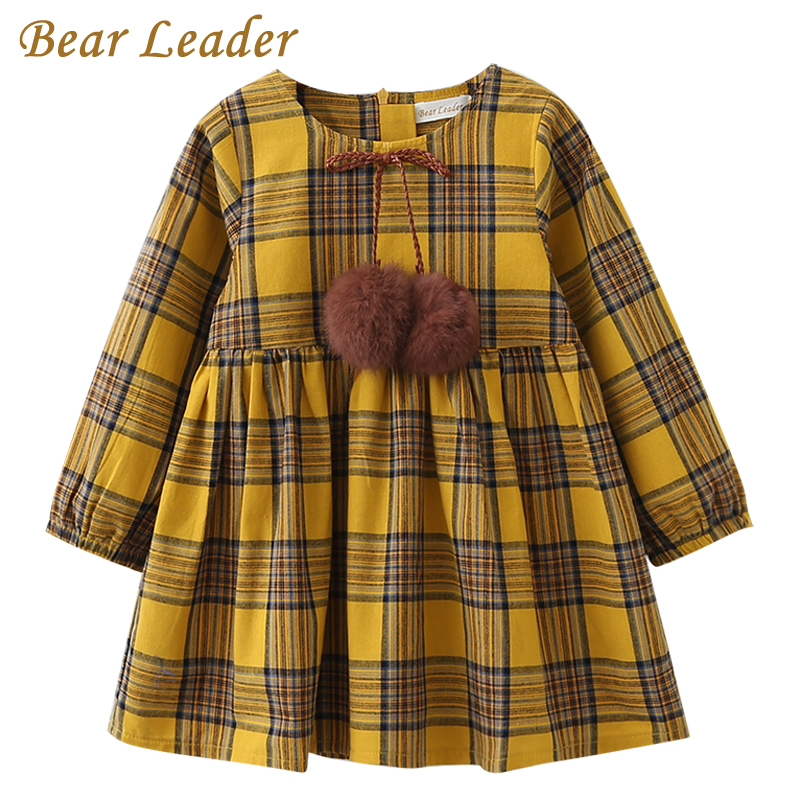 Bear Leader Girls Dress 2017 New Autumn Brand Girls Clothes England Style Plaid Fur Ball Bow Design Baby Yellow Girls Dress(China)