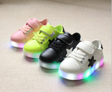 Buy 2018 European LED glowing spring/autumn girls boys sneakers high sports kids shoes high baby children shoes for $8.99 in AliExpress store