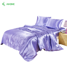 1PC Reactive Printing Purple Bedding Set Super Soft Polyester Fiber Bed Sheets Comforter Bed Set Twin Full Queen King Size