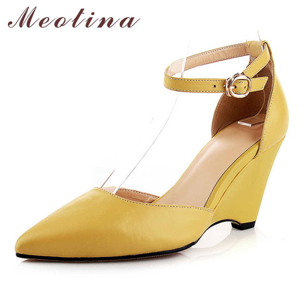 Meotina Genuine Natural Leather Women Pumps Autumn Pointed Toe Designer Tow Piece High Heel Wedges Ladies Shoes Yellow White<br>