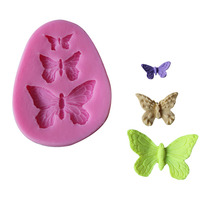 Free shipping 1piece three butterfly silicone chocolate cake mold Quality assurance of FDA Manufacture Mold C056(China)