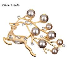 Christmas Elk Silver Plated Crystal Diamand Pearl Center Bow Brooch Kerst Decoratie Christmas Decorations for Home Bedroom(China)