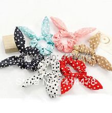 Wholesale Fashion Hair Ropes Sunshine Polka Dot Rabbit Ear Headband Bows Hair Tie Ponytail Holder Hair Accessories Free Shipping(China)