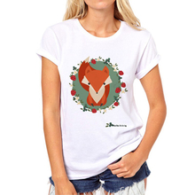 2017 Latest Fashion Cartoon Glasses Fox Women Animal printed T shirt Fox Design Tops Novelty Lady Casual Short Sleeve Tee N8-9#