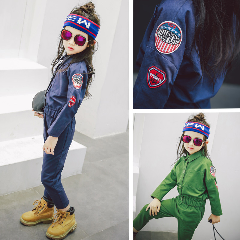 2017 Korea Girl Boys Jackets Bomber For Kids Autumn Army Clothes Sets Letter Children Coat+pants Baby Children Casual Clothing<br>