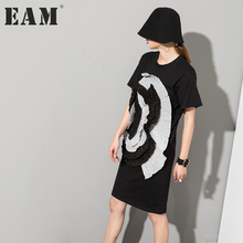 [EAM] 2017 new autumn round neck Stereo Large Flowers Short-sleeved Black loose Dress women fashion loose big size SM12(China)