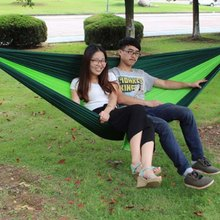 Portable AOTU AT6737 High Strength Nylon Fabric Camping Green Double Parachute Hammock for Camping Hiking Travel