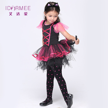 IDARMEE Cat Girl Costumes Cute Carnival Dress Cosplay Halloween Kids Kitty Cat Costume with Ear Tail S9024(China)