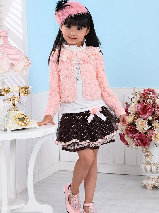 Wholesale - - New Baby Girl 3 Piece Suits T-shirt+Coat+Skirt Kids Princess Tutu Dress Children Lapel Sets <br><br>Aliexpress