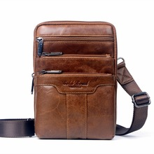 100% genuine leather small business men messenger bags cowhide travel shoulder cross body chest packs 2016 - pengjun hu's store