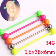 2 Piece 1.6x38x6mm 14G Fashion Stainless Steel Long Industrial Barbell Lovely Sweet Neon Candy Color Ear Piercing Body Jewelry