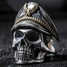Total Silver 925 Retro Officer Finger Rings World War II General Skull Honor Anniversary Ring
