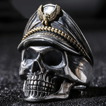 Total Silver 925 Retro Officer Finger Rings World War II General Skull Honor Anniversary Ring(China)