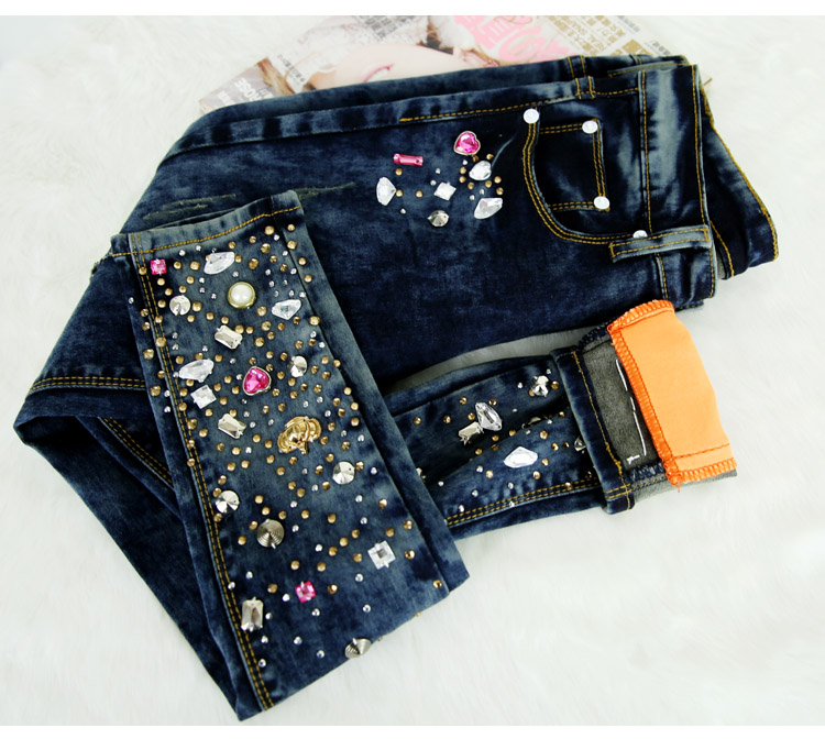 New ripped women jeans long skinny denim pants diamonds rhinestones ... 3d837c569b89
