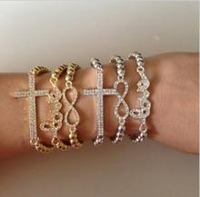 new hot pop world one direction 8 cross word love bead crystal bracelet for woman health & beauty gift  4BD82