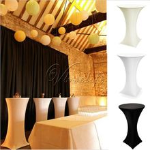White/Black/Ivory Lycra Dry Bar Cover Cocktail Table Cover Tablecloth For Wedding Event &Party Decoration 60cm(China)