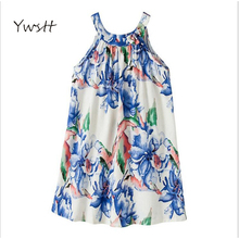 YwsttThe new summer 2017 ink breathable sleeveless vest skirt Classic girls dress linen children's clothes