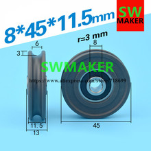 8*45*11.5mm groove, U groove, wrapped plastic pulley, nylon rope, 6mm diameter, over wire pulley bearing