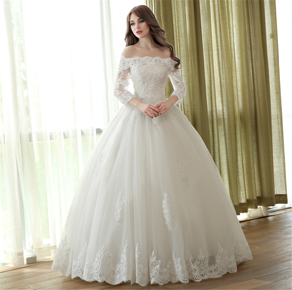 2018 vestido de noiva Lace Ball Boat Neck 3/4 Sleeve Custom Made Plus Size Princess Bridal Gown mother of the bride dresses