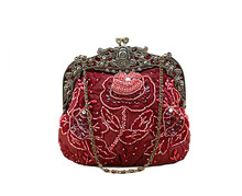 Burgundy Handmade Women's Beaded Sequined Handbag Clutch Wedding Evening Bag Banquet Makeup Bag Free Shipping 2583-K(China)