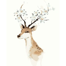 Deer Antlers Flower Coloring Oil Picture On Canvas Drawing Home Artwork Wall Art Picture DIY Oil Picture By Numbers(China)