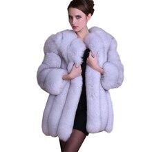 Winter Luxury Faux Fox Fur Coat Women Slim Long Pink Faux Fur Jackets Fashion Woman High Quality Warm Faux Fur Coats FP0194