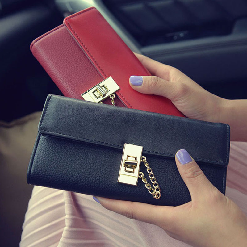 New Style Tri-Folds Luxury Women Leather Long Wallet Metal Hasp Lock female Change Purse Card Holder Girls Clutch Wallets<br><br>Aliexpress