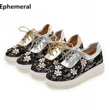 Ladies Platform shoes flats thick soled sneakers vintage flowers lace-up low top footwear women botas gold silver plus size 3 34(China)