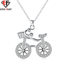 EPICFEAT Bike Bicycle Pendant Necklace Girls and Boys Women Fashion Jewelry Silver Plated Crystal Zircon Neck Chain 2017 N907
