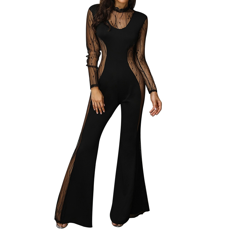 Women Mesh See Through Rompers Female Black Jumpsuits Long Sleeve Embellished Cuffs Mesh Sleeves Loose Bodysuit S-XL