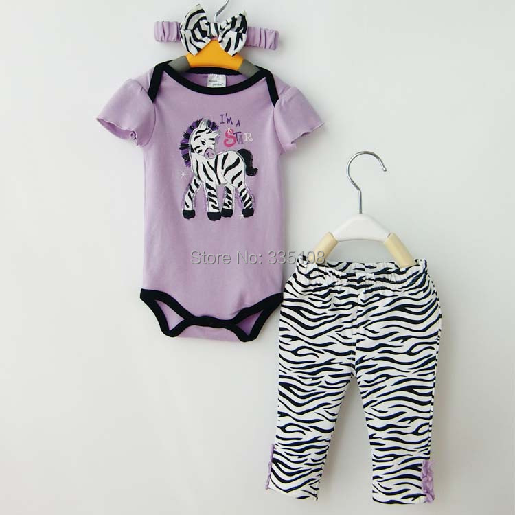 Baby Girl Clothes Summer Infatn Toddler 3-Piece Suits Purple Romper +Zebra Pants + Headband Baby Cartoon Clothing sets<br><br>Aliexpress