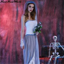 New Hot Halloween Women's Dead Beauty Ghost Bride Costume Corpse Bridal Long Dress for Masquerade Carnival Party Performance(China)
