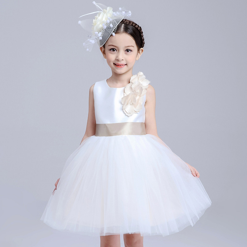 Casual Birthday Gift Party Flower Girl Dress With Belt Princess Costume Vestido Clothes Sleeveless Kid Gown Princess Vest Dress<br>