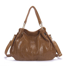 2017 Top Quality WOMEN Genuine Leather Bags for Women Serpentine Skin Ladies Handbags Famous Designer Ladies messenger bags(China)
