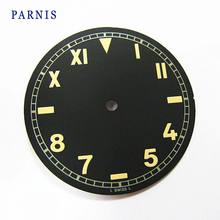 Cheap Sale Watch Accessories Parts, 37.5mm Mens Mechanical Watch Dial Black Dial Green Numbers fit Unites ETA 649 Movement