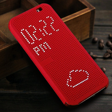 Smart Flip Dot View Cover Case For HTC One M8 Auto Sleep Wake function Phone Case With Stylish Matrix Design