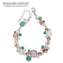 Neoglory MADE WITH SWAROVSKI ELEMENTS Charm Beads Snap Bangles & Bracelets Fashion Jewelry Love Gift Girls 2017 New Brand JS1