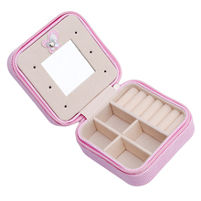Mini Travel Portable Jewelry Box With Mirror Cosmetic Makeup Organizer Earrings Casket Three-tier Storage Box Best Gift EJ893094