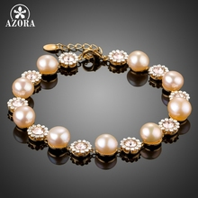 AZORA Gold Color Pink Imitation Pearls and Tiny Stellux Austria Crystal Flowers Alternate Tennis Chain Bracelets TS0154