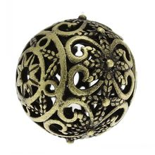 DoreenBeads Copper Spacer Beads Round Antique Bronze Flower Pattern Hollow European Charm About 17mm x 16mm,Hole:Approx:2mm,5PCs(China)