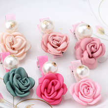 Hot Sale Summer Style Cloth Wraped Clip Barrettes Bloom Burming Flower Children Hair Accessories Pearl Hairpins Baby Hair Clips