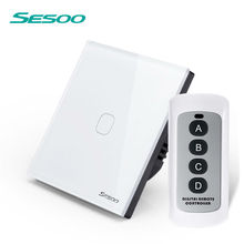 SESOO Remote Control Switch 1 Gang 1 Way ,White,RF433 Smart Wall Switch, Wireless remote control touch light switch