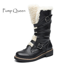 Winter boots For Women 2017 Genuine Leather Slip-On Knee-High Snow Boots Woman Round Toe Plush Buckle Female Boots(China)