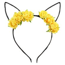 Lovely Girls Cosplay Cat Ears Headband Rose Flower Fancy Dress Hair Band Headwear