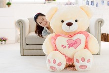larggest 120cm hugged love heart teddy bear plush toy hugging pillow surprised birthday gift w5449(China)