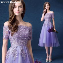 SOCCI Lavender Lace Sexy Boat-Neck Strapless Cocktail Dress New Lace-up Back Women Tea-Length Gowns Lady Wedding Party Dresses(China)